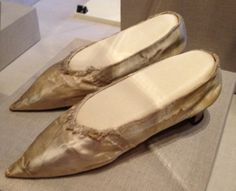 """""""Romance and revolution"""" - Dorothy Quincy & John Hancock married August 28, 1775 at Fairfield, Connecticut shortly after the start of the American Revolution. She wore these delicate London-made, cream silk, low heeled shoes. While surprising to us, it was not uncommon for those deeply committed to the Revolution to wear goods from Britain. Their wedding occurred while John was on recess from 2nd Continental Congress, where he oversaw the war effort as President. By K. Alexander…"""