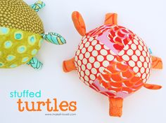 Stuffed Fabric Turtles - made a couple of these already as baby gifts. I replaced the fiddly little feet (very hard to sew) with loops of colorful ribbon to give the baby something to grab onto.
