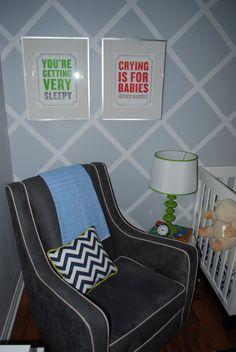 Blue or light grey wall with diamond pattern; very nice chair...add an ottoman