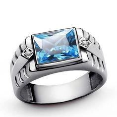 BLUE TOPAZ Men's Ring Solid 925 Sterling Silver 0.02ctw NATURAL DIAMONDS all sz #Unbranded #Signet