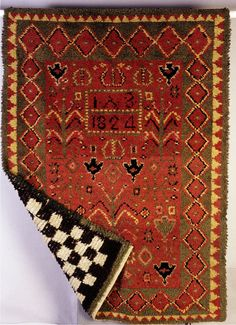 Tree of life, Alastaro, Finland (TMM / V. Rya Rug, Wool Rug, Scandinavian Embroidery, Geometry Art, Textiles, Tapestry Weaving, Rugs On Carpet, Carpets, Scandinavian Design