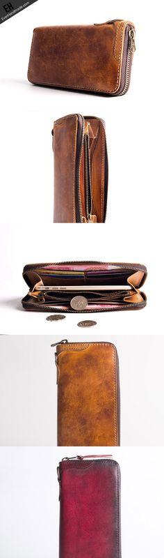 996fc6e0e5a Handmade long wallet leather men phone zip clutch vintage wallet for  Lederen Tassen Handgemaakt, Leder