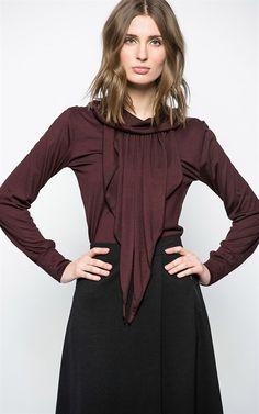 Ozsale - Long Sleeve Blouse Burgundy - Ozsale.com.au