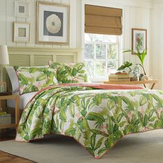 Tommy Bahama Aregada Dock Ecru Quilt Set. #BeddingStyle #bedding #bedroom #TommyBahama #bed #tropical #beachy #palmtrees