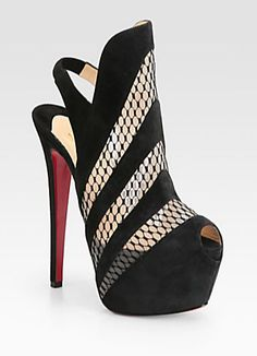 "Christian Louboutin ""Guizi"" suede and mesh platform ankle boots from spring/summer 2013 collection."