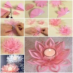 Learn How To Make A Paper Lotus Candle Holder - Find Fun Art diy paper crafts step by step - Diy Paper Crafts Diy Candles With Flowers, Paper Flowers Diy, Diy Paper, Paper Crafts, Diy Crafts Vases, Diy Arts And Crafts, Paper Lotus, Lotus Art, Lotus Candle Holder