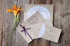Ribbon and Lace Wedding Invitations - Custom Handmade - Vintage Shabby Chic Rustic - Doily and Burlap - Baby & Bridal Shower - Fall - Plum