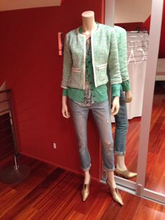 Great St Patricks Day look! If you want to look casual but still a bit chic - go for Deconstructed Brett Jean, Darby Top (think Eliza blouse from spring 13), Billy Cardigan and Clover Tweed Jacket. So cute!! www.carolynestanislau.cabionline.com