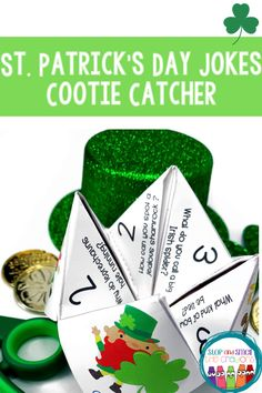 Students LOVE cootie catchers and they LOVE jokes - so these cootie catcher jokes are perfect for a fun holiday activity or literacy center! Directions to fold and play the cootie catcher are included in Phonics Activities, Holiday Activities, St Patricks Day Jokes, St Patrick Day Activities, Spring School, Substitute Teacher, Teaching Resources, Classroom Resources, Literacy Centers