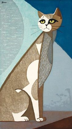Inagaki Tomoo (Japan, 1902-1980) - Cat in the Moonlight - Color woodblock print, Japan, mid-20th century. by VenusV