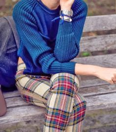 Street Style Blue Sweater With Plaid Fashion