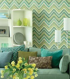 LOVE this color scheme and the chevron design on the wall. From plumsiena