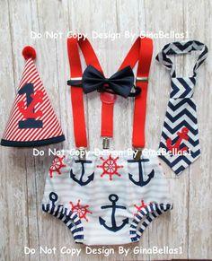 Nautical cake smash outfit chevron anchor Birthday by GinaBellas1