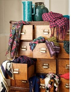 collection of vintage scarves, organized  by color or style in your card catalog, as seen via MadeWell.