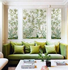 """Alternative to wallpapering entire wall. Create """"window"""" boxes along long wall?"""