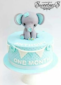 Cute elephant cake. Would change to pink though :-)
