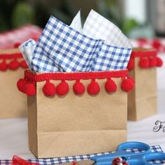 Use small sacks and trim for cute treat bags.