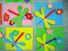 Kuvis ja askartelu: Sudenkorennot, äitienpäiväkortit