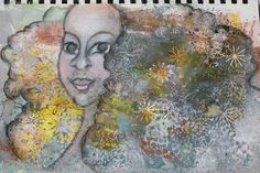 She game out of mess. Mixedmedia work. Lady with curly hair by Anu-Riikka L.