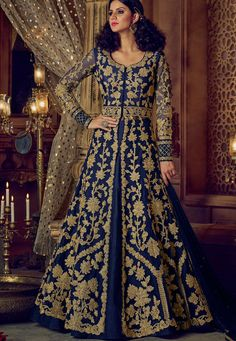 Buy Navy blue color banglori silk party wear Lehenga kameez in UK, USA and Canada