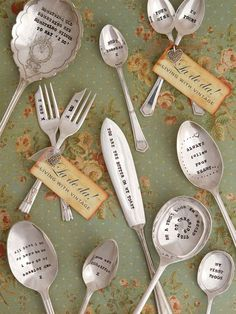 A beautiful range of hand stamped vintage cutlery. La de da! are based in the stunning Spa Town of Cheltenham, Gloucestershire. Each letter is hand stamped onto the chosen piece creating 'a one of a kind' keepsake.