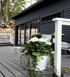 Terassi ja huone ovat yhtenäistä tilaa, kun liukulasit avataan. Outdoor Spaces, Flower Power, Outdoor Gardens, Gazebo, Home And Garden, Cottage, Outdoor Structures, Terraces, Greenhouses