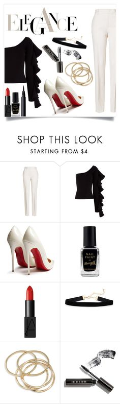 """white pants"" by solonora ❤ liked on Polyvore featuring Jil Sander, Beaufille, Christian Louboutin, Barry M, NARS Cosmetics, ABS by Allen Schwartz and Bobbi Brown Cosmetics"