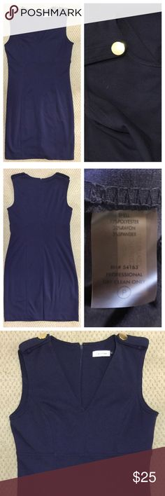 Calvin Klein Navy Dress with Gold Buttons Calvin Klein previously loved Navy Blue Dress with Gold Button embellishments on the Shoulder tops. Lays above the knee, zips down the back, has a slit on the back. Calvin Klein Dresses