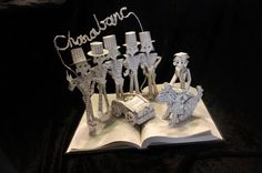"""Charabanc!"" books sculpture made from The Phantom Tollbooth.  (artist: Jodi Harvey-Brown)"