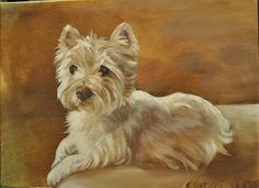 """Westie """"the Poser"""", Oil Painting by Karen Santucci"""