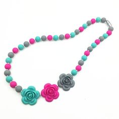 Baby Flower Silicone Beads Teeth Necklaces