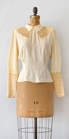 vintage 1930s blouse | 30s lace rayon blouse | Dolce Vita Blouse