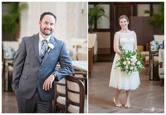 Individual bride and groom portraits inside the Cooper Lounge in Union Station in downtown Denver Colorado. - April O'Hare Photography http://www.apriloharephotography.com