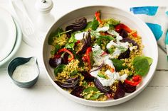 This beautiful whole grain salad combines freekeh, roasted beetroot and creamy yoghurt in one pretty platter.