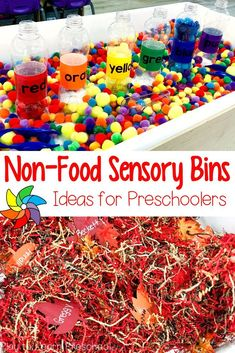 Huge List of Non-Food Sensory Bin Fillers This visual directory of non-food sensory bin ideas for preschoolers will help teachers plan the bin filler, accessories, and learning objectives. Toddler Sensory Bins, Sensory Boxes, Sensory Table, Baby Sensory, Toddler Play, Sensory Play, Toddler Teacher, Toddler Preschool, Toddler Activity Table