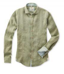 Q1 Hemd Premiumhemd MAIK in Grün in 100% Leinen Slim Fit, Shopping, Linen Fabric