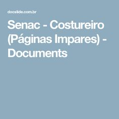 Senac - Costureiro (Páginas Impares) - Documents