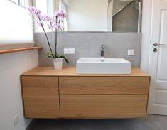 Solid oak vanity with three drawers and one door - Solid oak vanity with three drawers and one door - Bathroom Bath, Bathroom Renos, Bathroom Interior, Modern Contemporary Bathrooms, Modern Bathroom, Interior Architecture, Interior Design, Toilet Design, Bathroom Inspiration