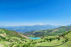 Unrealistically turquoise Valasht Lake in Mazandaran Province in northern Iran