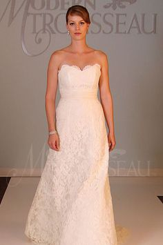 Classic strapless sweetheart A-Line lace gown with a sweep train