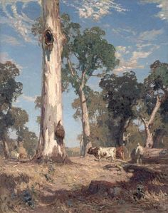 A Lord of the Bush by Hans Heysen. All pictures on this site can be jigsaw games. Australian Painting, Australian Artists, Pierre Auguste Renoir, Abstract Landscape, Landscape Paintings, Pieter Brueghel El Viejo, Imagen Natural, Australian Bush, Muse Art