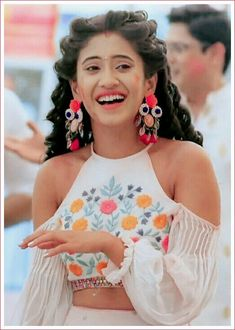 Shivangi Joshi ❤ Indian Fashion Dresses, Indian Gowns Dresses, Indian Designer Outfits, Indian Outfits, Designer Dresses, Fashion Outfits, Stylish Blouse Design, Fancy Blouse Designs, Sleeves Designs For Dresses