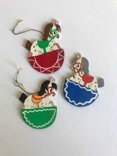 Vintage Swedish Wooden Rocking Horse Christmas Ornaments Set of 3