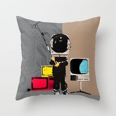 Check your head out - Collage Throw Pillow by Marko Köppe - $20.00
