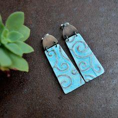 Waves Enamelled silver dangle earrings. by InTheMoodForJoy on Etsy, €84.00