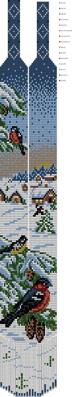 Перерисованная схема гердана с синичкой и снегирями, указано количество бисера каждого цвета
