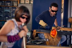 Amanda Notarianni and Charlie Macpherson, glass artists at Notarianni Glass in Poundbury in Dorset See more of The Artisans series as we showcase craftspeople in their workplaces Artists, Architecture, Glass, Hot, Pictures, Design, Arquitetura, Photos, Drinkware