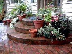 Backyard Patio Steps Shape 66 Ideas For 2019 Concrete Patios, Cement Patio, Patio Wall, Brick Pavers, Patio Steps, Brick Steps, Outdoor Steps, Patio Seating, Pergola Patio