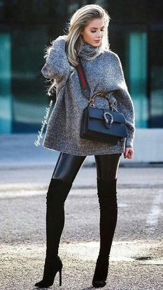 gray sweater and black leather pants with black knee-high boots outfit. Pic by newyorklife_style