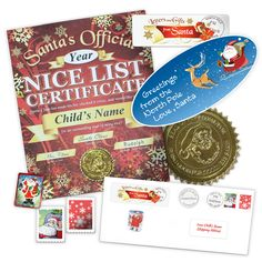 Nice List Certificate From Santa with Greetings Sticker Nice List, Santa Letter, Certificate, Sticker, Packaging, Letters, Letter From Santa, Decals, Letter